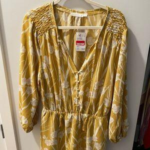 3 quarter sleeve mustard yellow floral dress